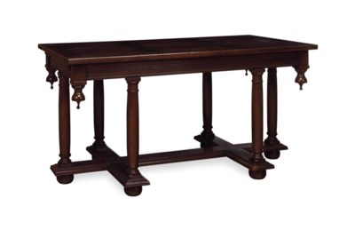 A GRAINED ELM LIBRARY TABLE,