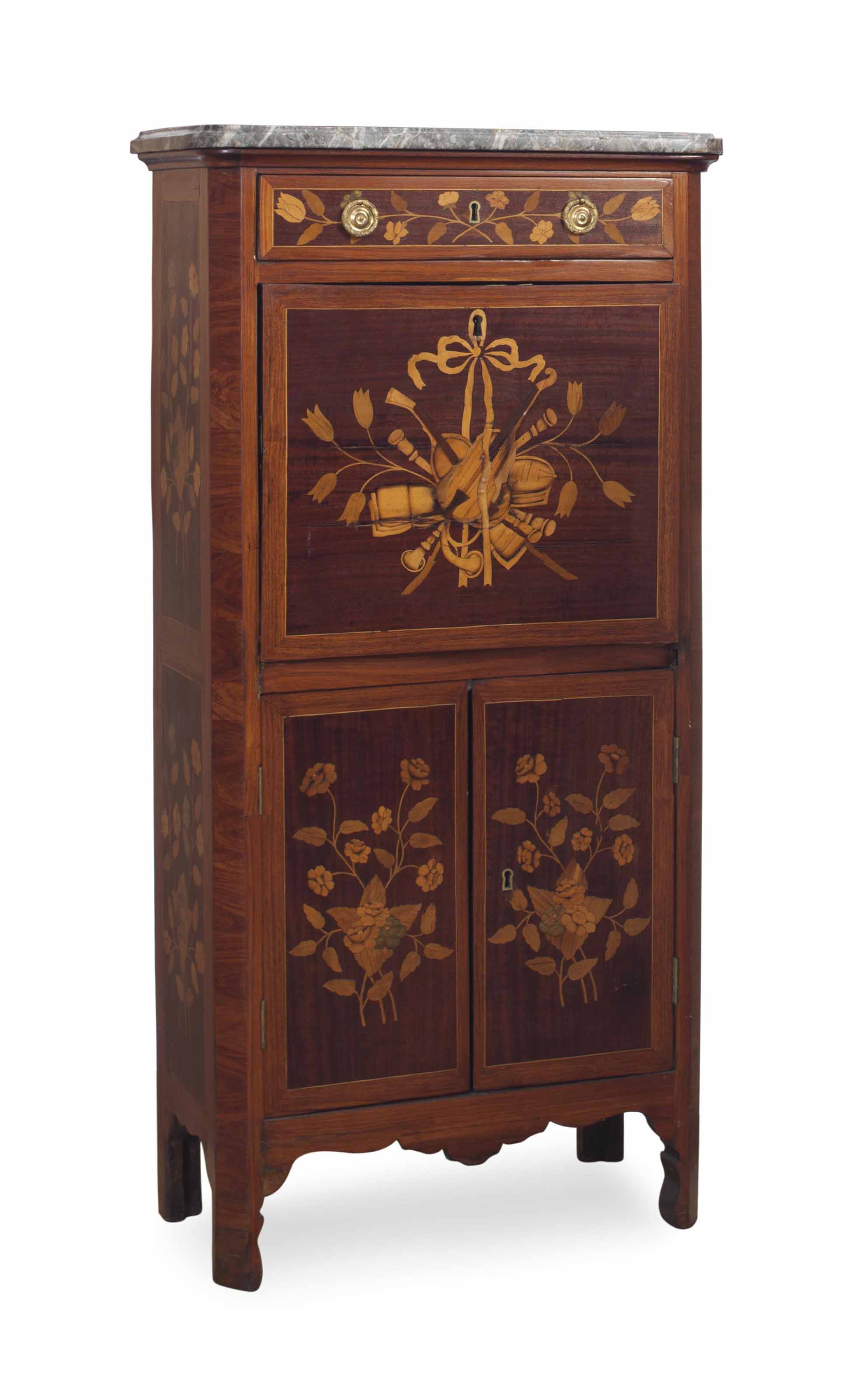 A LOUIS XVI KINGWOOD, TULIPWOOD, MARQUETRY AND MARBLE-TOP SMALL SECRETAIRE A ABATTANT,
