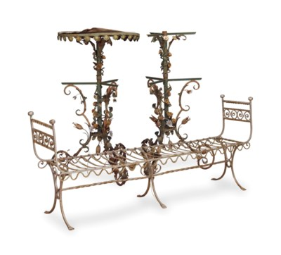A PAIR OF WROUGHT IRON AND TOL