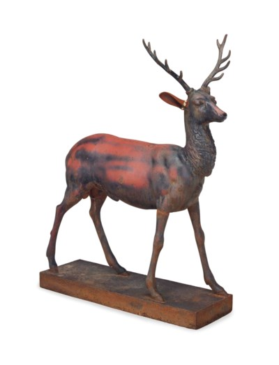 A CAST IRON MODEL OF A STAG,