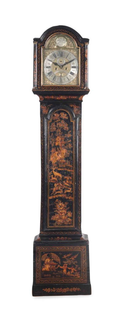 A GEORGE II JAPANNED TALL CASE