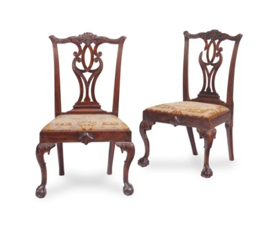 A PAIR OF CHIPPENDALE STYLE MA