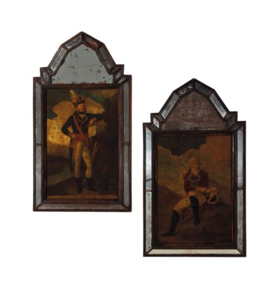A PAIR OF DECOUPAGE AND GLASS