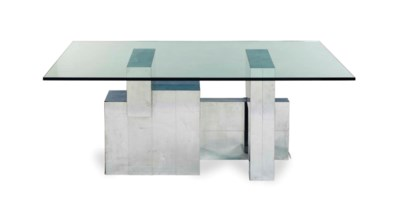 A STAINLESS STEEL AND GLASS DI