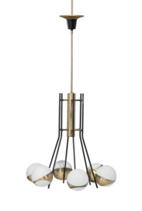 AN ITALIAN GLASS AND BRASS CEILING LAMP,