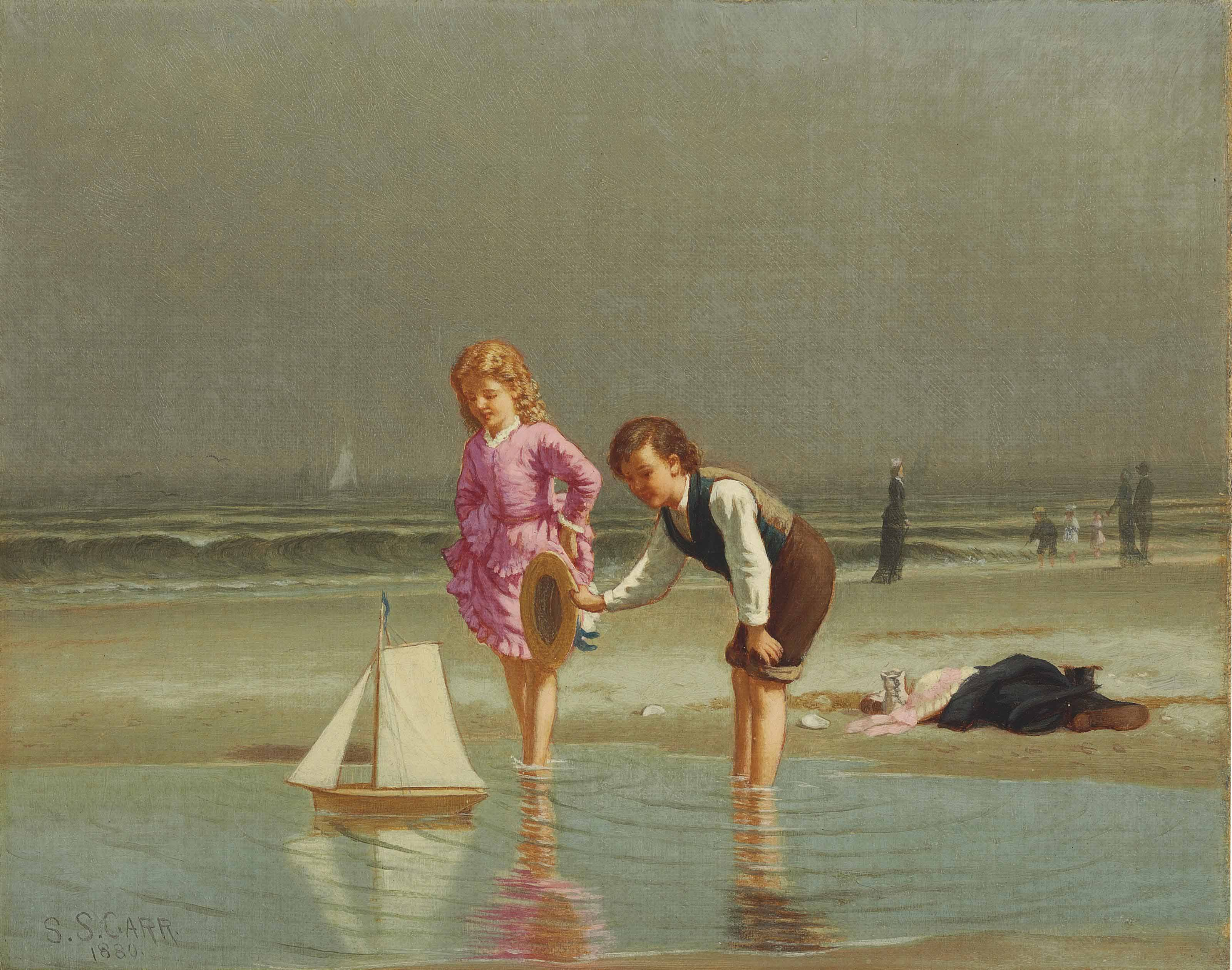 Children Playing with Toy Sailboat
