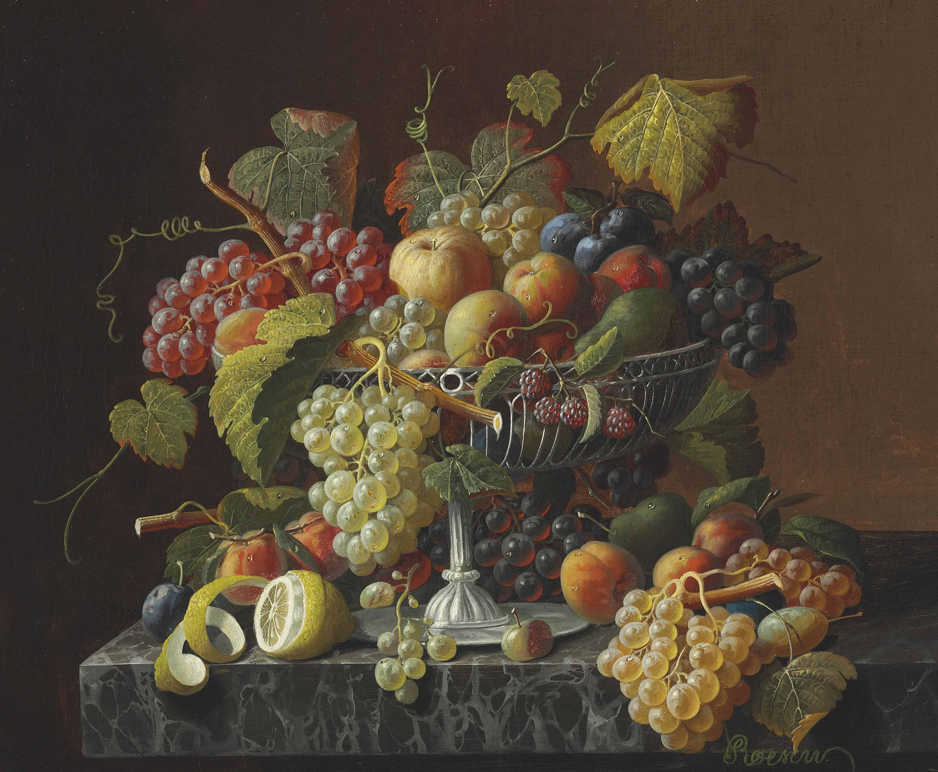 Still Life with Fruit and Leaves