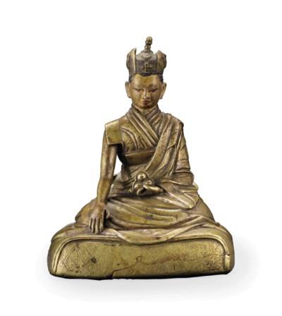 A bronze figure of a Karmapa