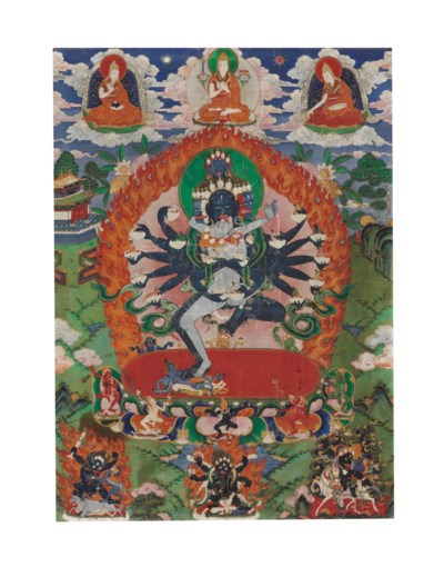 A painting of Hevajra and Nair