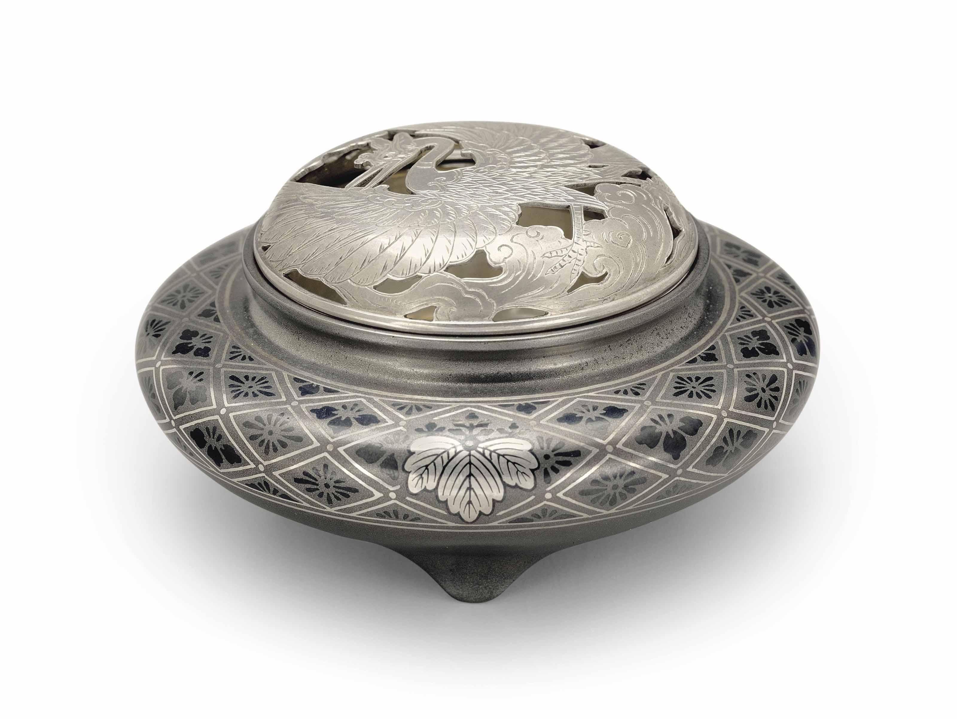 A soft-metal-inlaid bronze incense burner