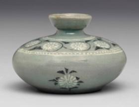 A Small Inlaid Celadon Stoneware Oil Bottle