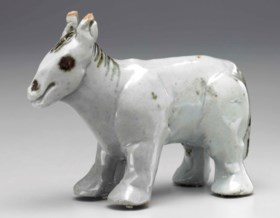 An Iron-decorated Porcelain Miniature Model of a Horse