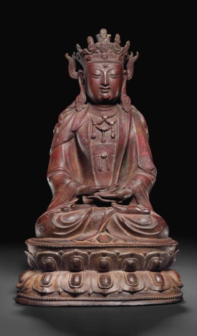 A DATED LACQUERED BRONZE FIGUR