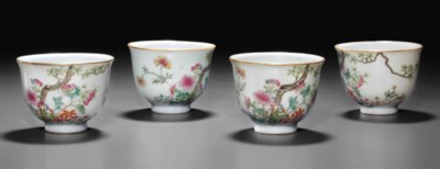 FOUR FAMILLE ROSE CUPS