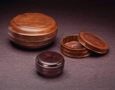 THREE HUANGHUALI CIRCULAR BOXE