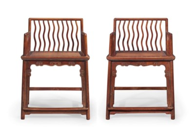 A RARE PAIR OF HUANGHUALI LOW-