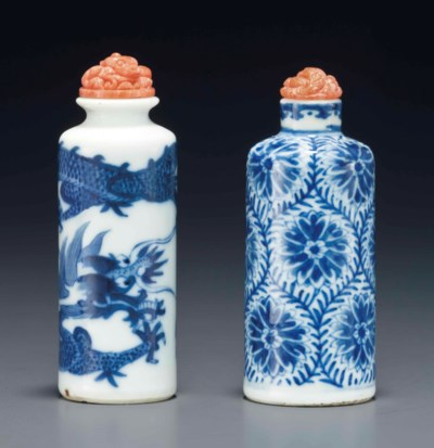 TWO BLUE AND WHITE SNUFF BOTTL