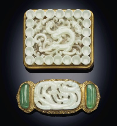 A WHITE JADE-MOUNTED GILT-META