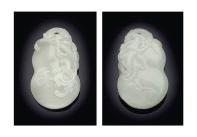 A WHITE JADE DOUBLE-GOURD-FORM