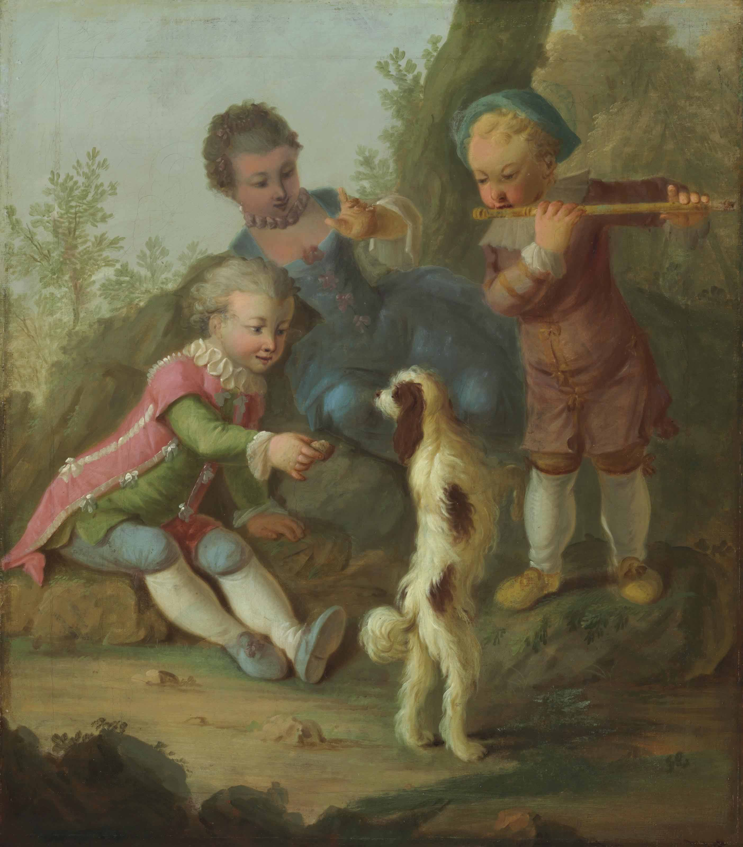 Three children playing with a dog