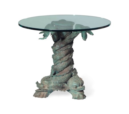 A BRONZE AND GLASS CENTER TABL