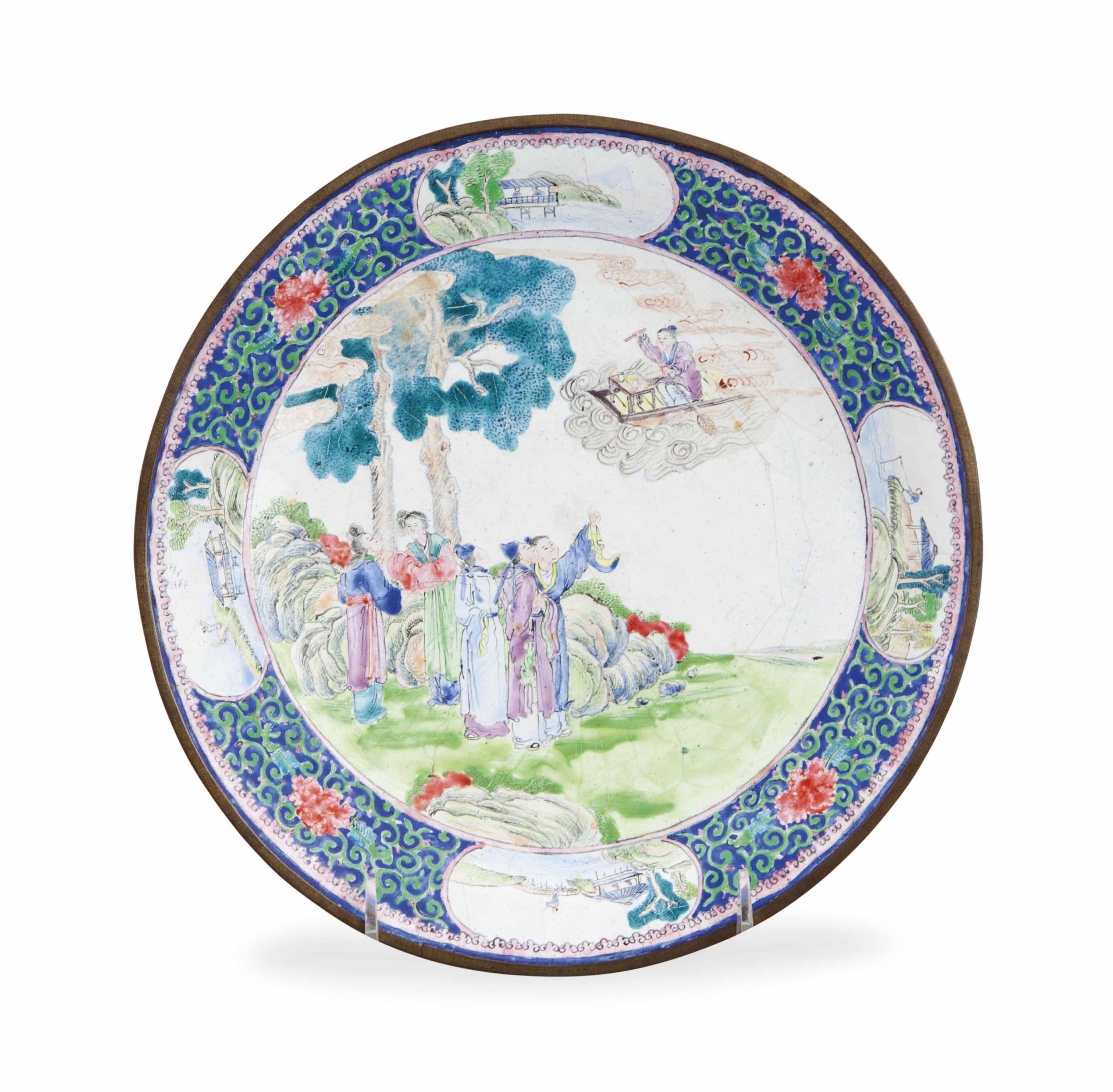 A CHINESE CANTON ENAMEL DISH,