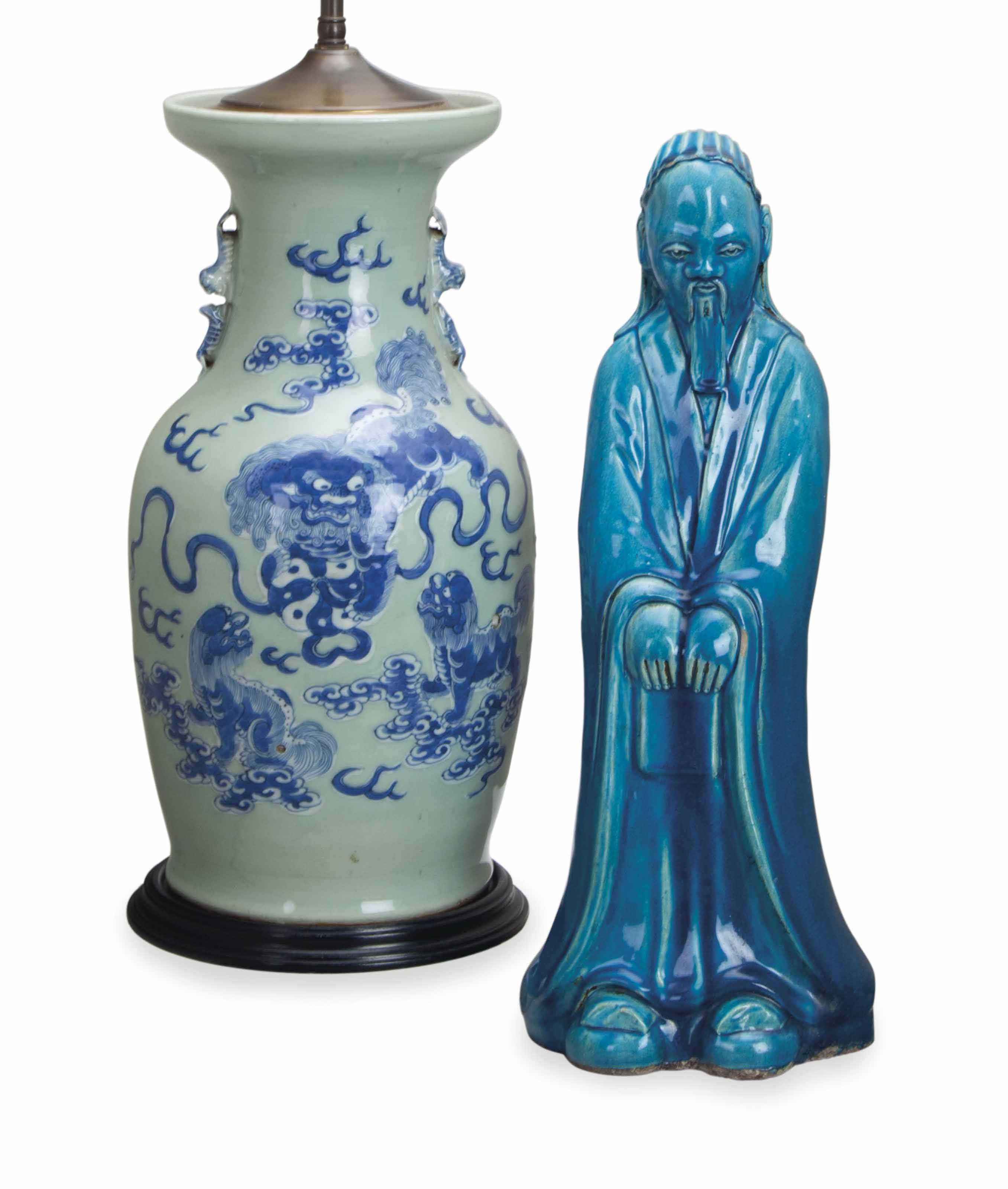 A CHINESE BLUE AND WHITE DECOR