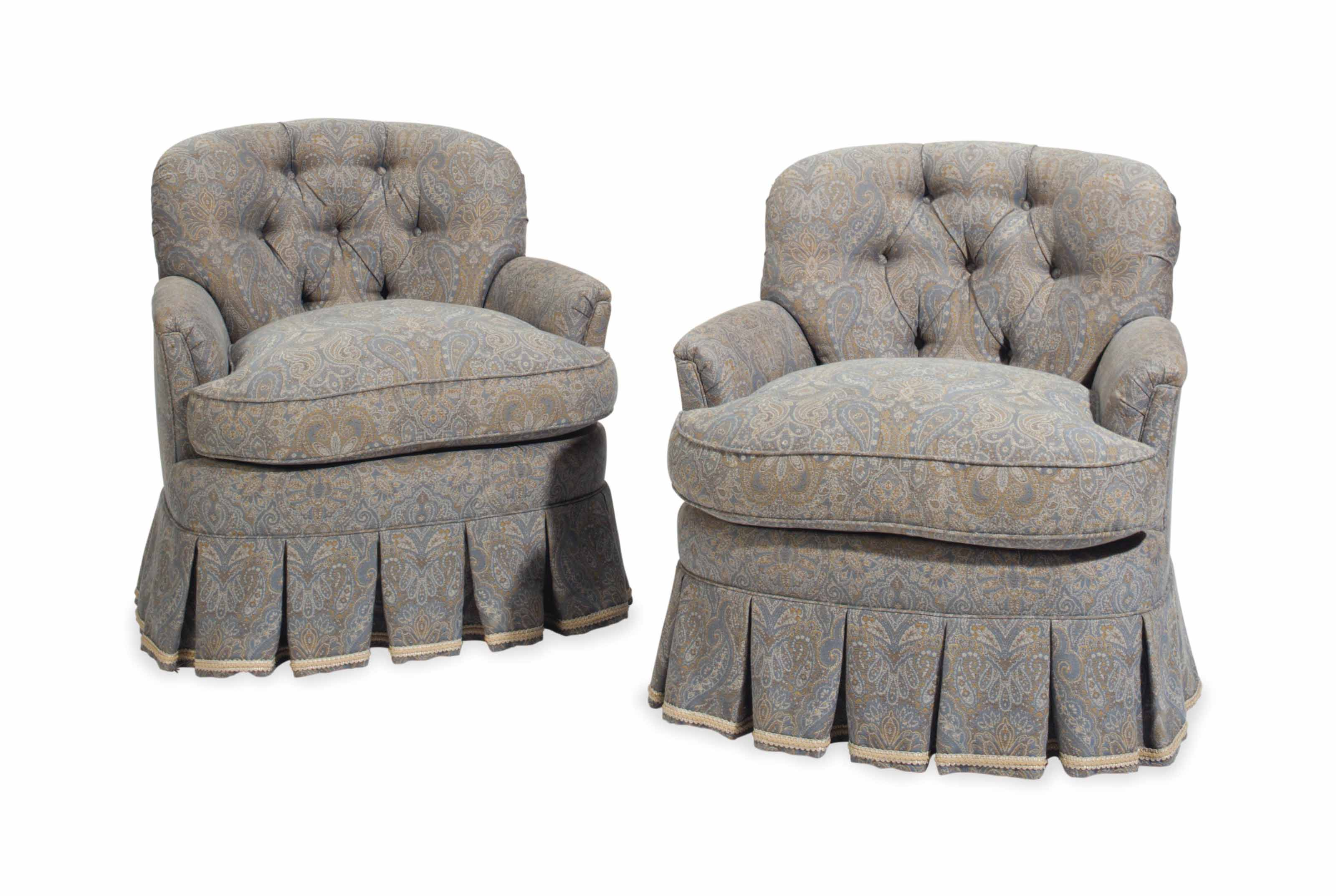 A PAIR OF UPHOLSTERED CLUB CHA