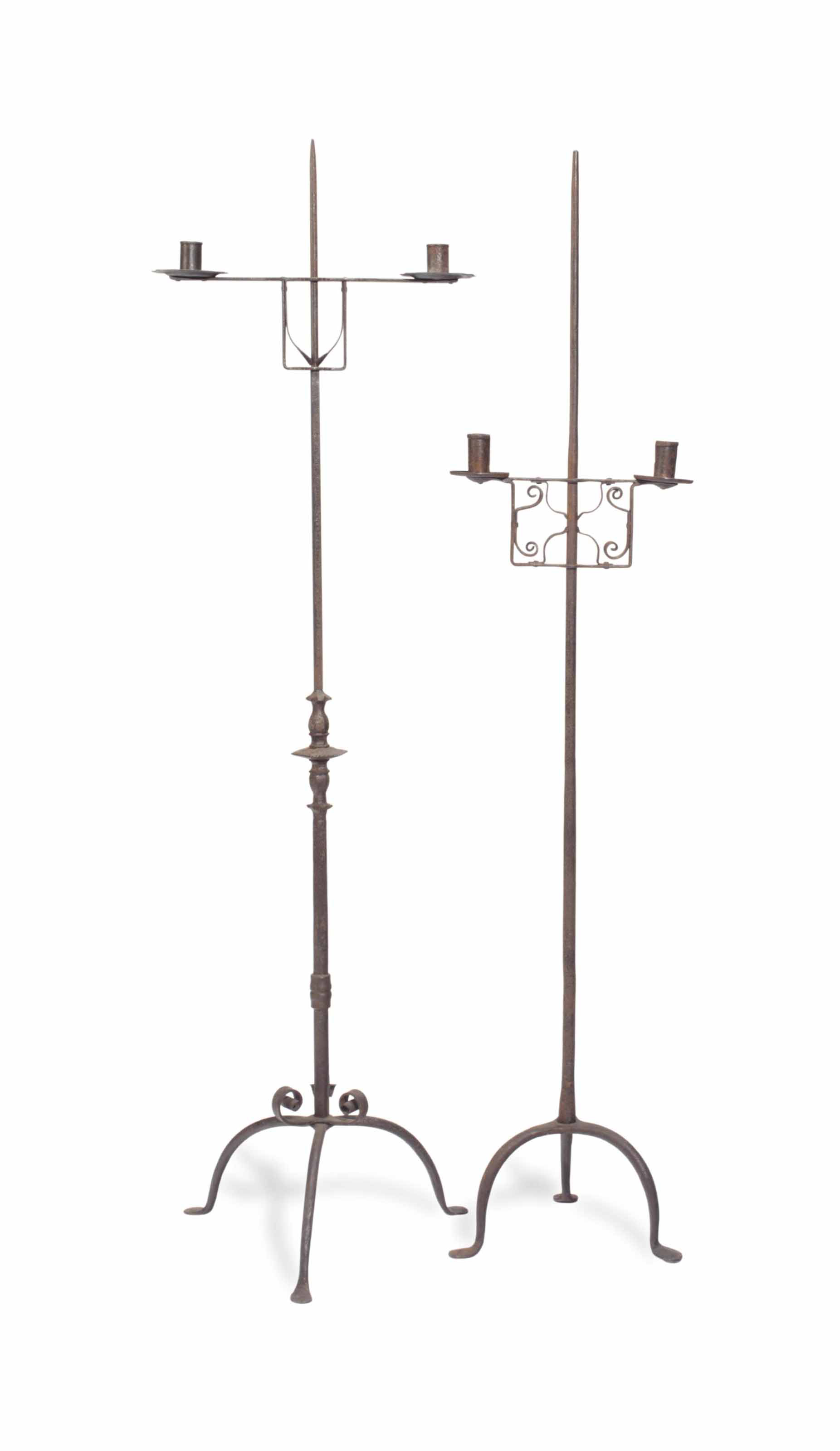 TWO WROUGHT IRON TWO-LIGHT TOR