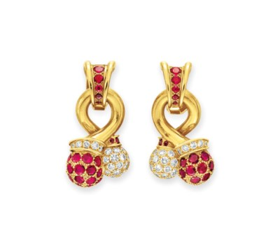 A PAIR OF RETRO RUBY AND DIAMO