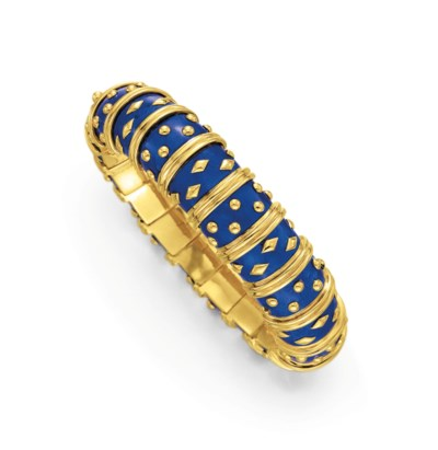 AN ENAMEL AND GOLD BRACELET, B