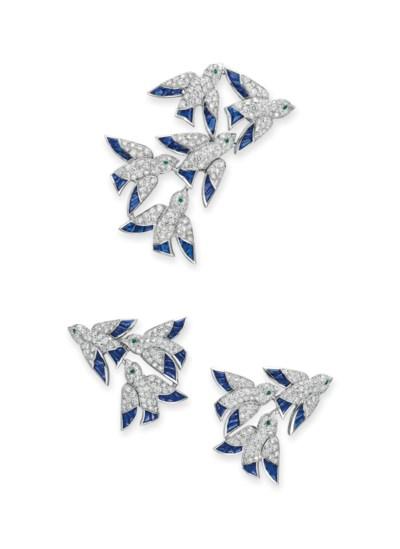 A SET OF DIAMOND, SAPPHIRE AND