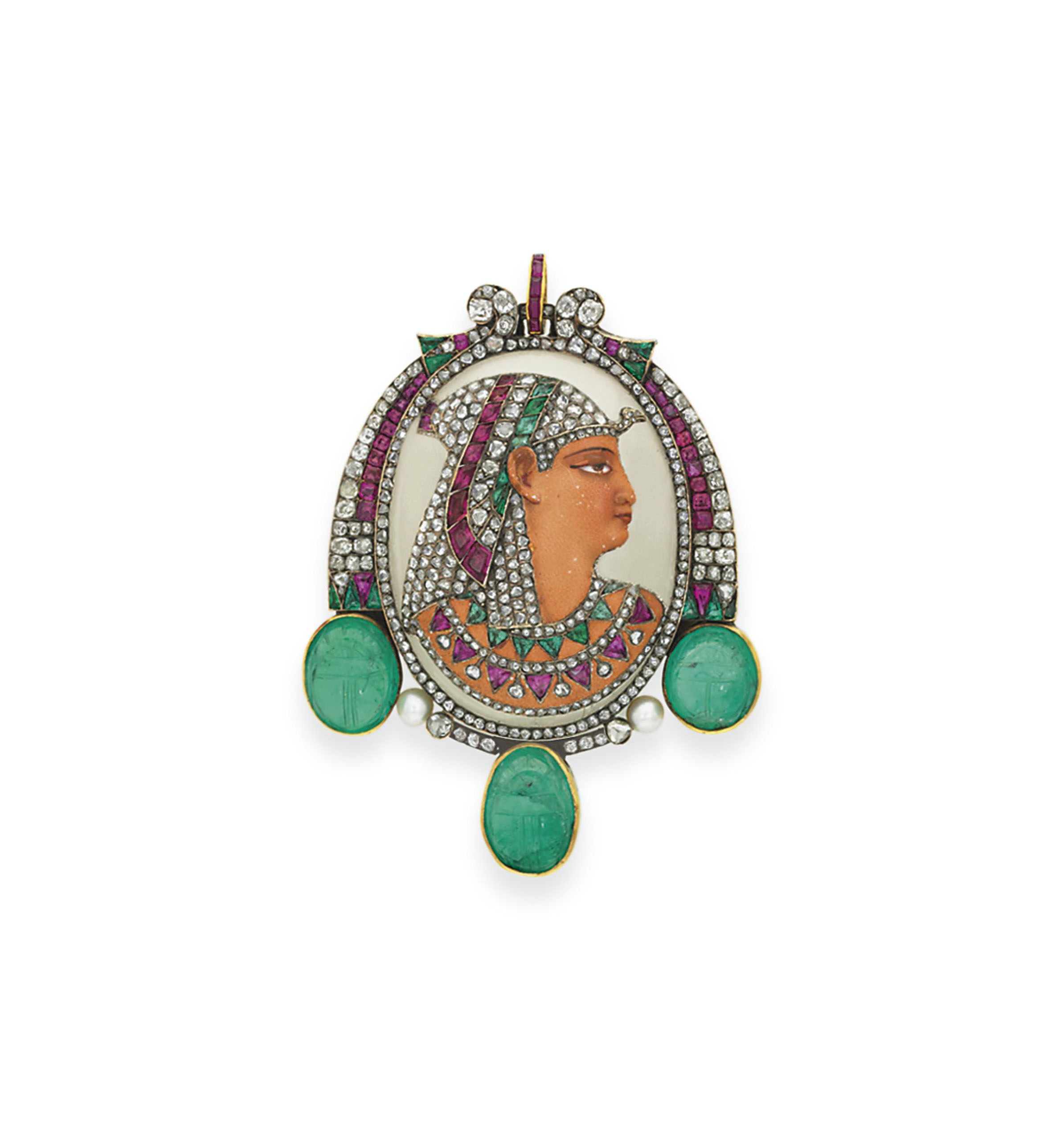 AN EGYPTIAN-REVIVAL MULTI-GEM 'PHARAOH' BROOCH, BY GUSTAVE BAUGRAND