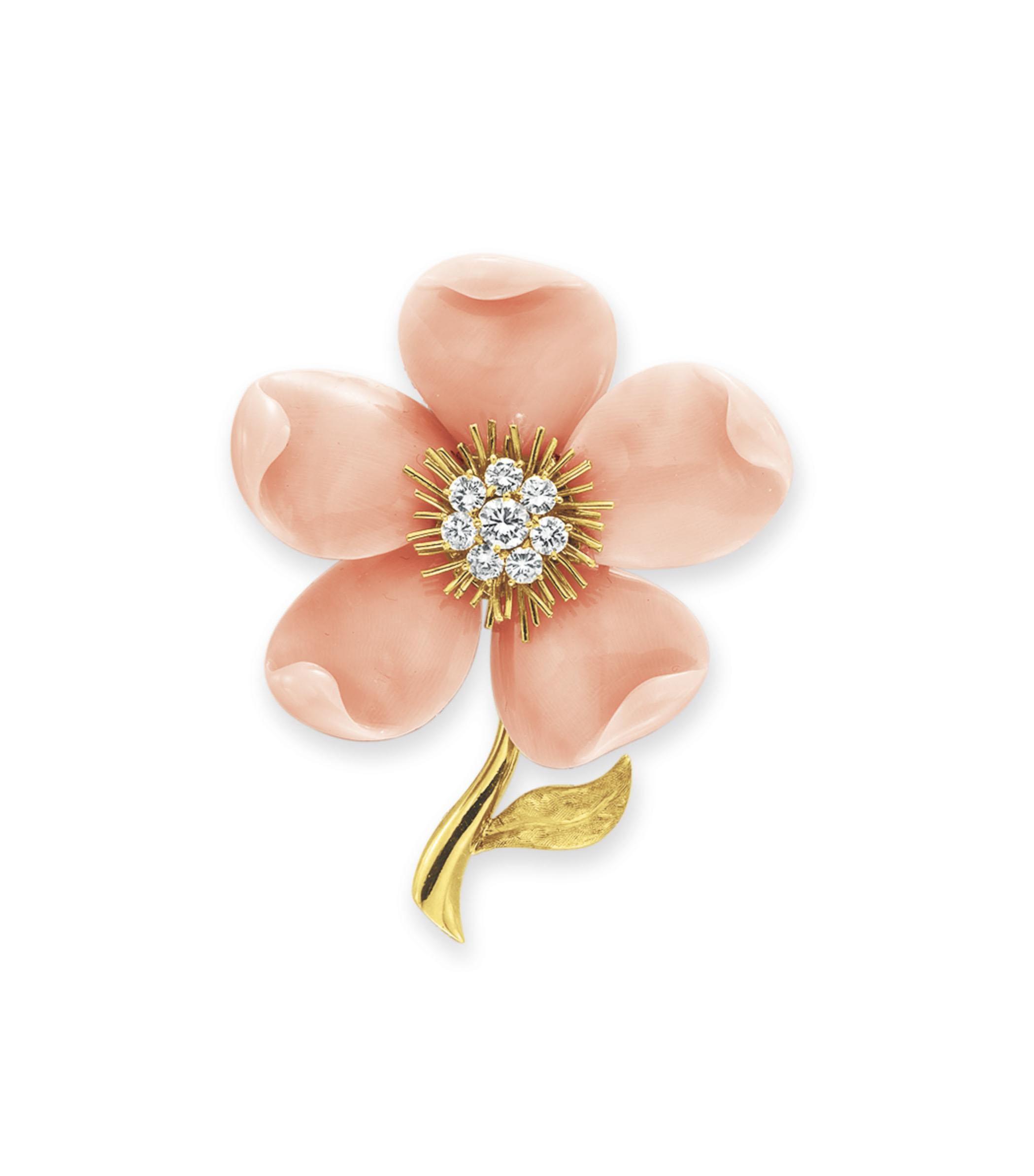 """~A CORAL AND DIAMOND """"ROSE DE NOEL"""" BROOCH, BY VAN CLEEF & ARPELS"""