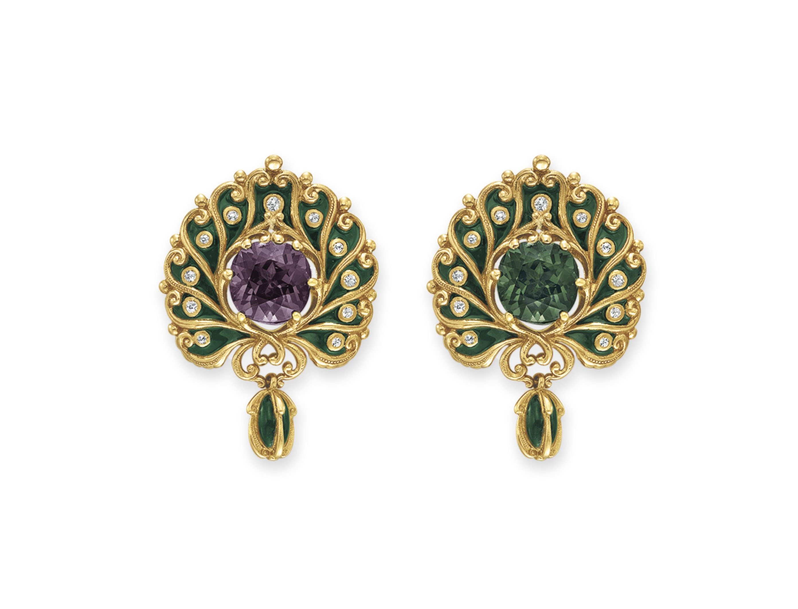 AN ART NOUVEAU ALEXANDRITE, DIAMOND AND ENAMEL BROOCH, BY MARCUS & CO.