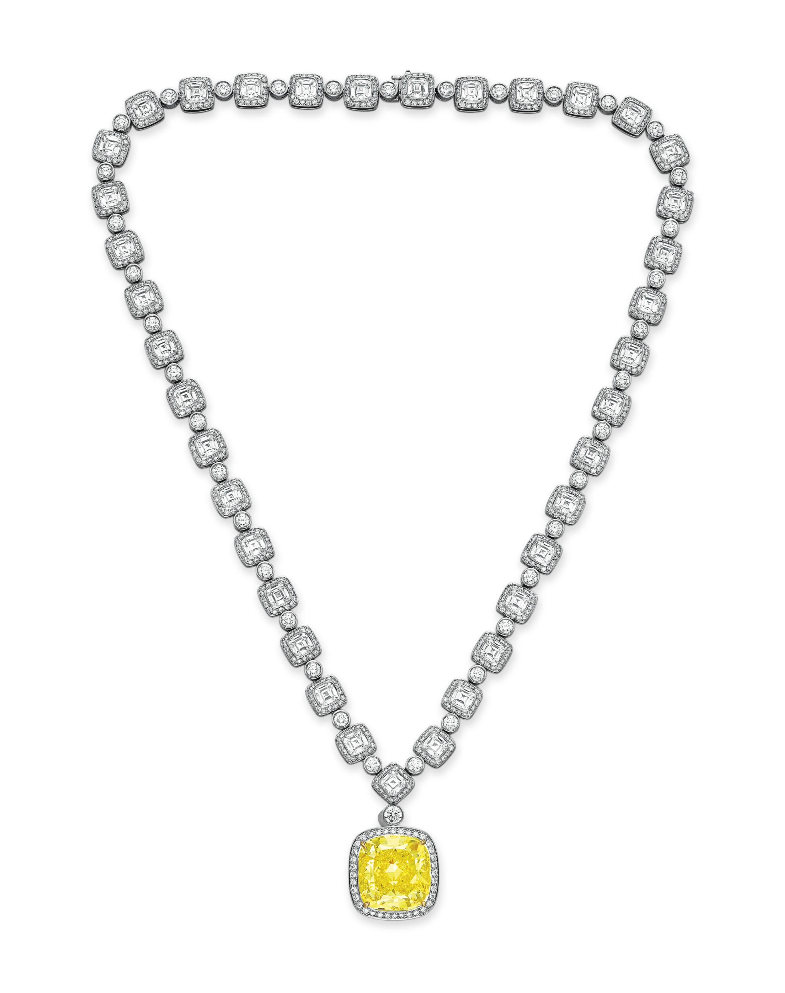 AN IMPORTANT COLORED DIAMOND AND DIAMOND PENDANT NECKLACE, BY TIFFANY & CO.