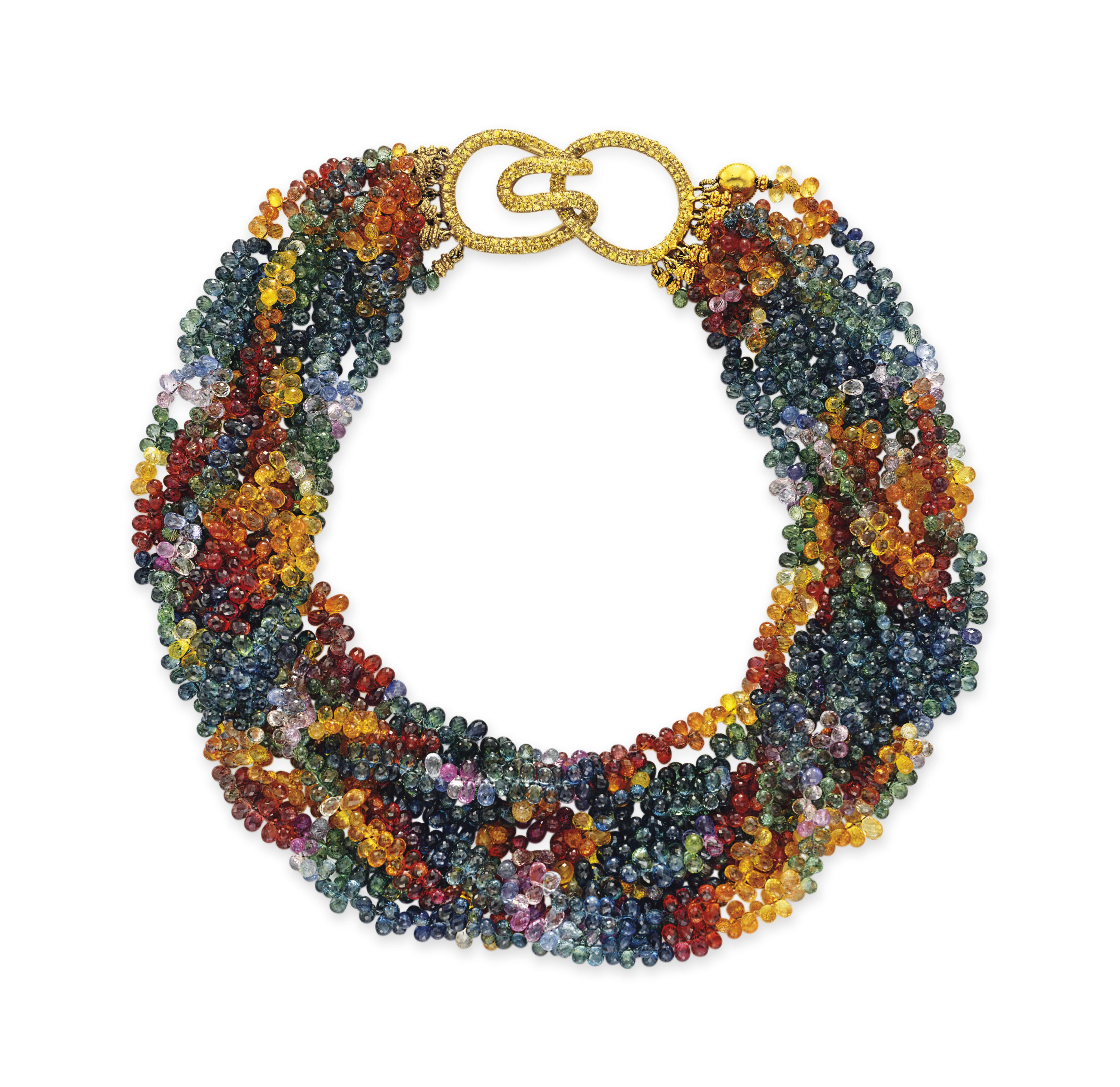 A MULTI-COLORED SAPPHIRE BEAD NECKLACE, BY TAMZEN Z, ANN ZIFF