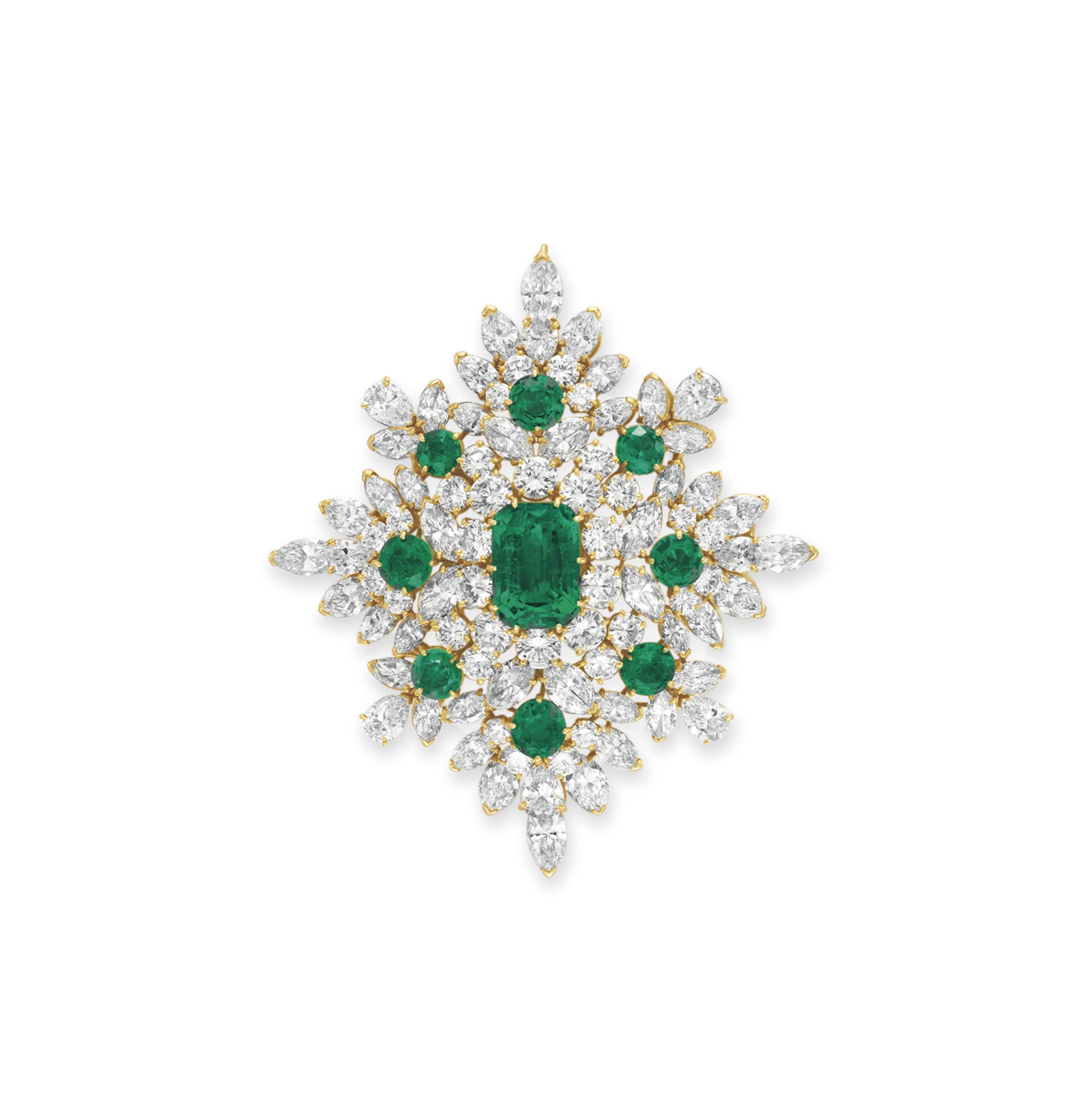 AN HISTORIC EMERALD AND DIAMOND BROOCH, BY VAN CLEEF & ARPELS