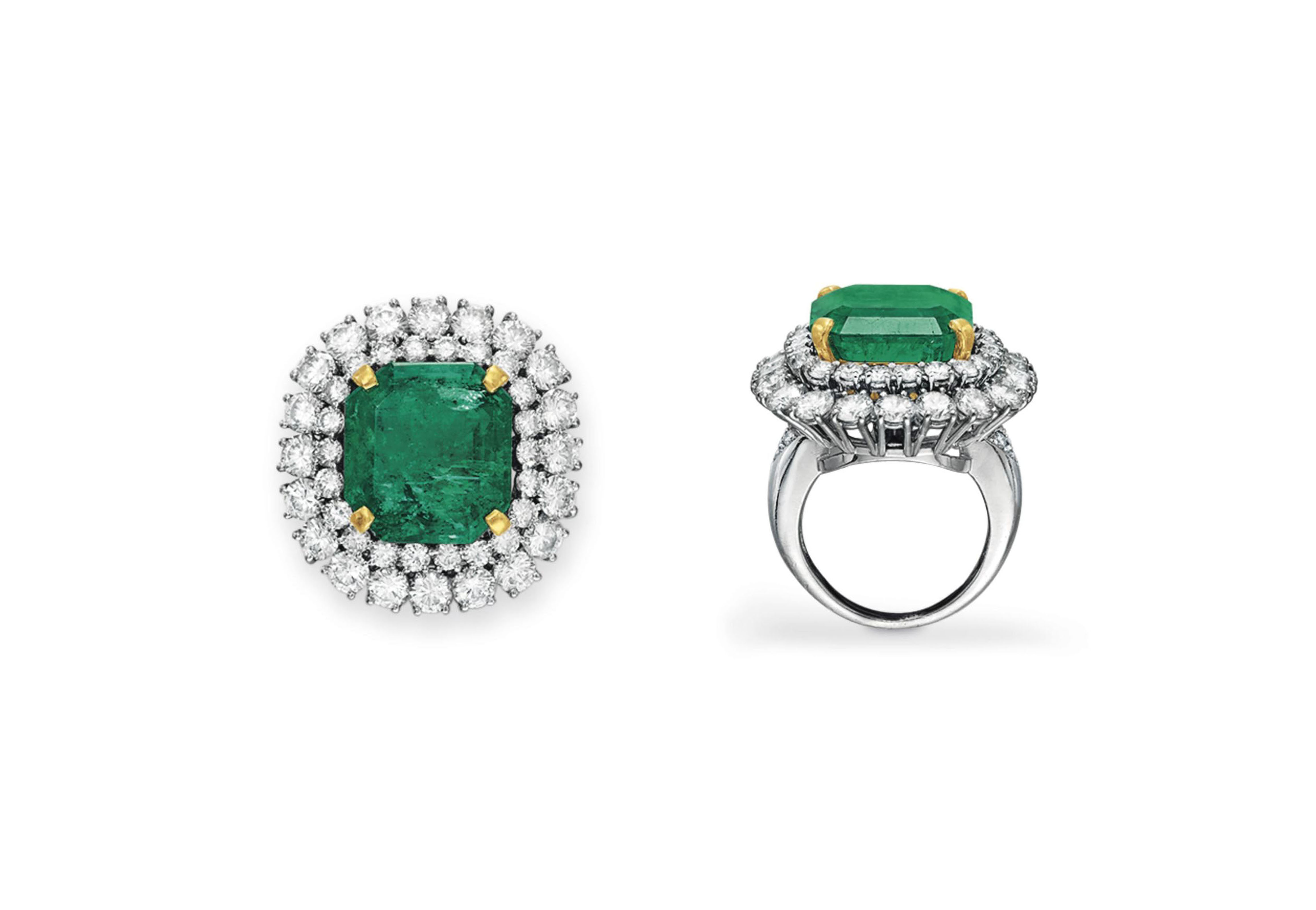 AN EMERALD AND DIAMOND EAR CLIP AND RING, BY VAN CLEEF & ARPELS