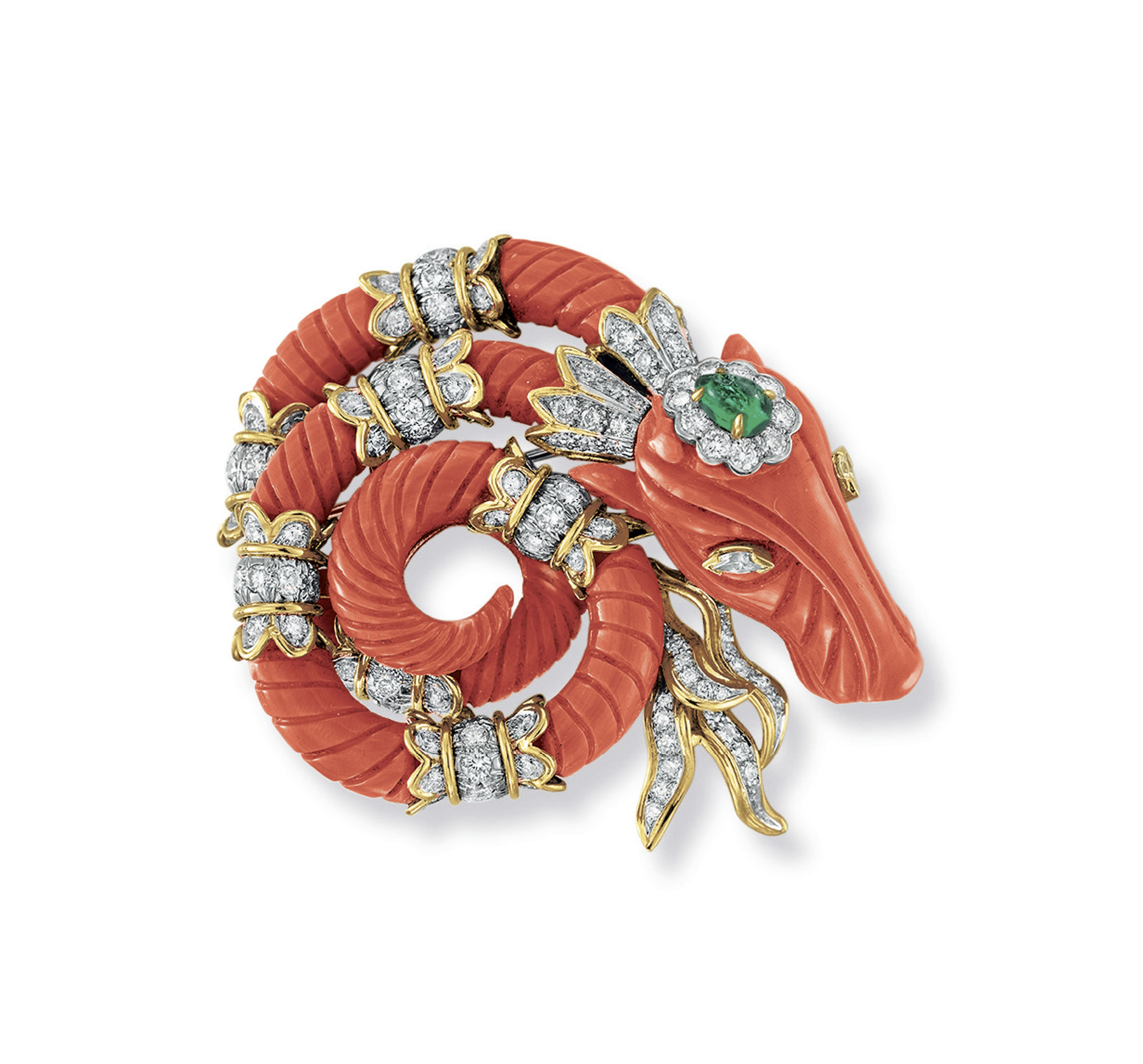 ~A CORAL, DIAMOND AND EMERALD BROOCH, BY DAVID WEBB
