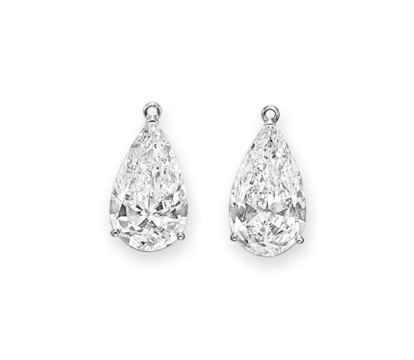 A PAIR OF DIAMOND PENDANTS