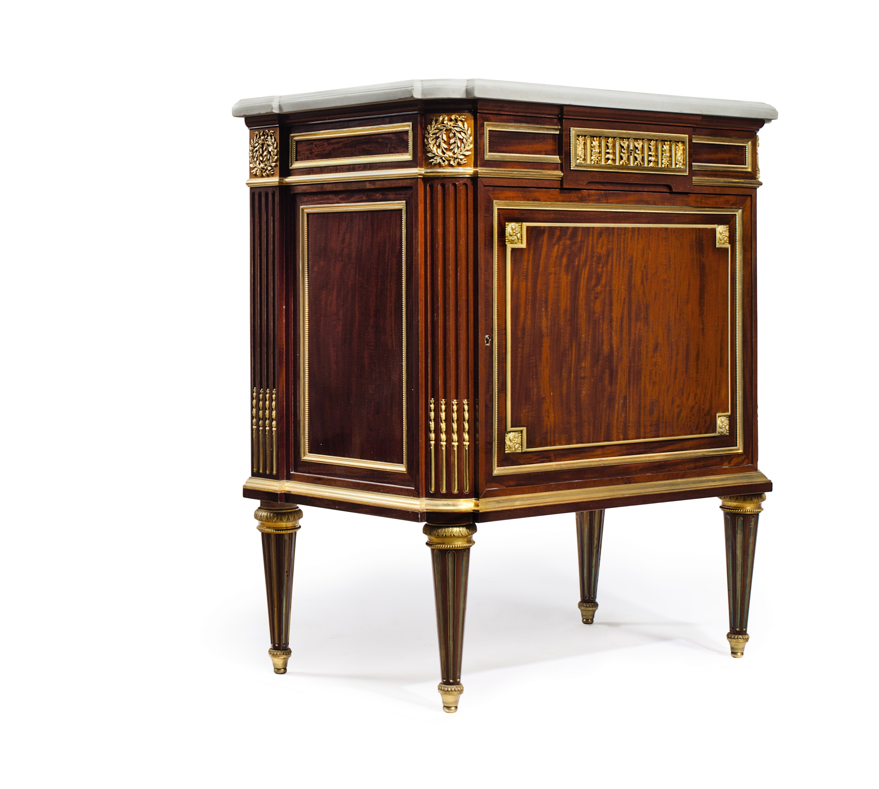 A FRENCH ORMOLU-MOUNTED PLUM-PUDDING MAHOGANY SIDE-CABINEt