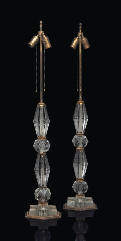 A PAIR OF AMERICAN CUT-GLASS T