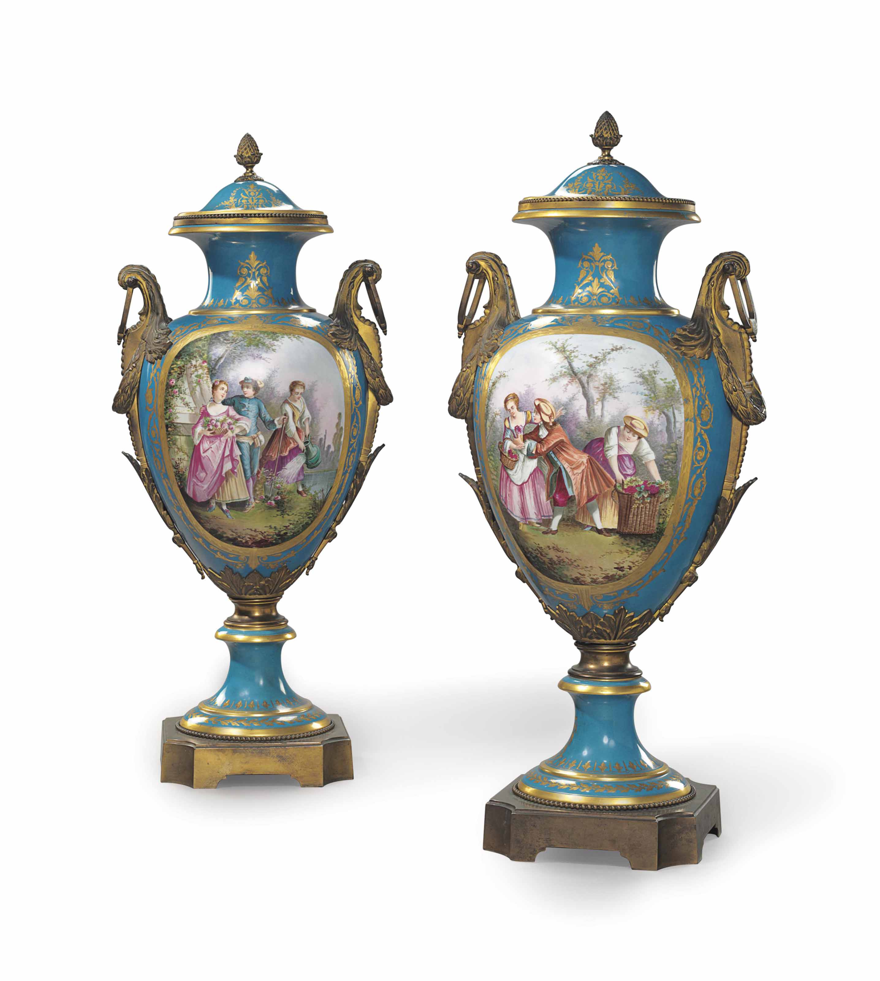 A PAIR OF ORMOLU-MOUNTED SEVRES STYLE PORCELAIN TURQUOISE