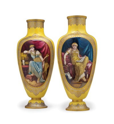 A LARGE PAIR OF FRENCH FAIENCE