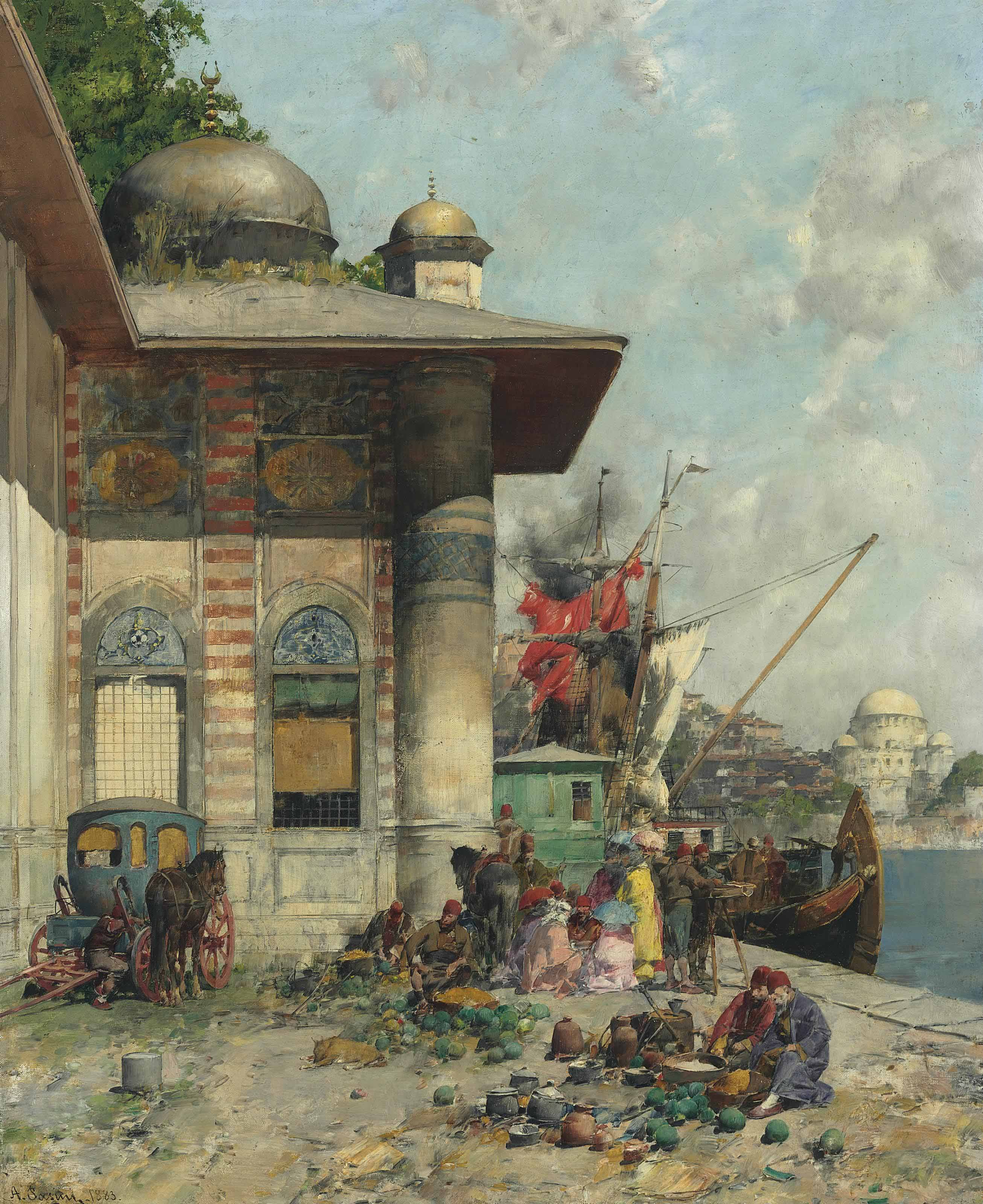 Market day, a capriccio of the Old City Shores, Constantinople