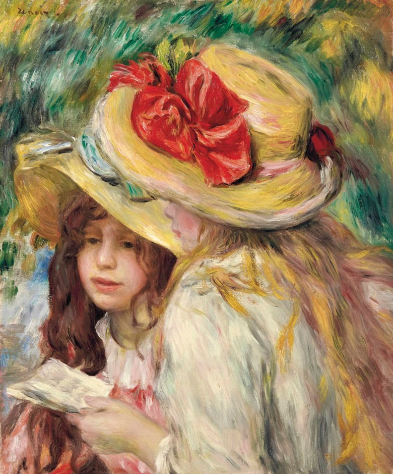 Pierre-Auguste Renoir (1841-1919), Les deux soeurs, painted circa 1890-1895. 21¾ x 18¼  in (55.2 x 46.2  cm). Sold for $8,005,000 on 6 May 2014 at Christie's in New York