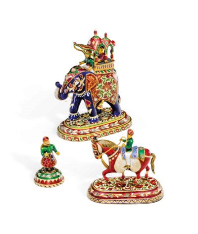 THREE INDIAN GOLD, ENAMEL AND