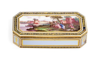 A GERMAN GOLD AND ENAMEL SNUFF