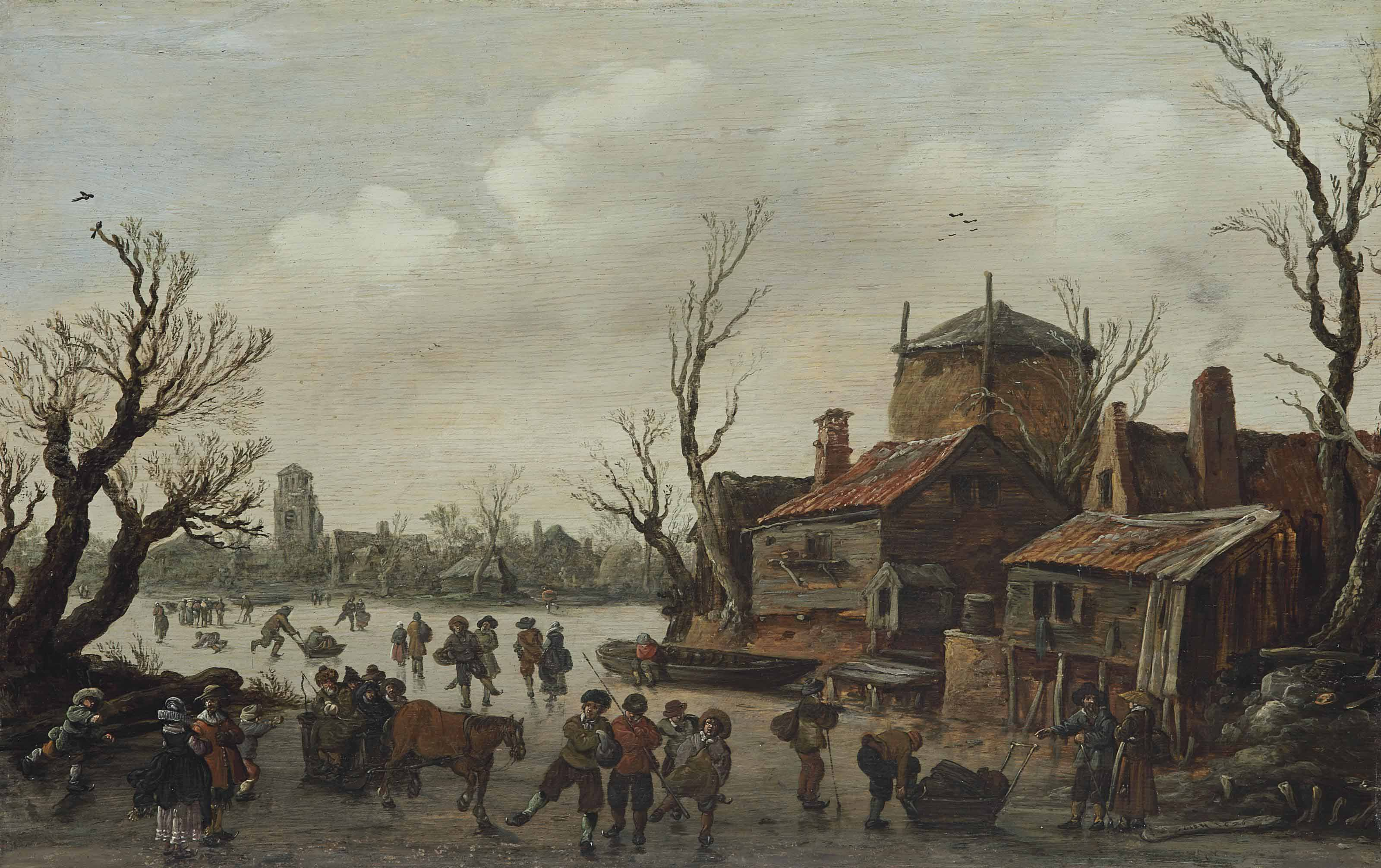 A winter scene with skaters and a village beyond